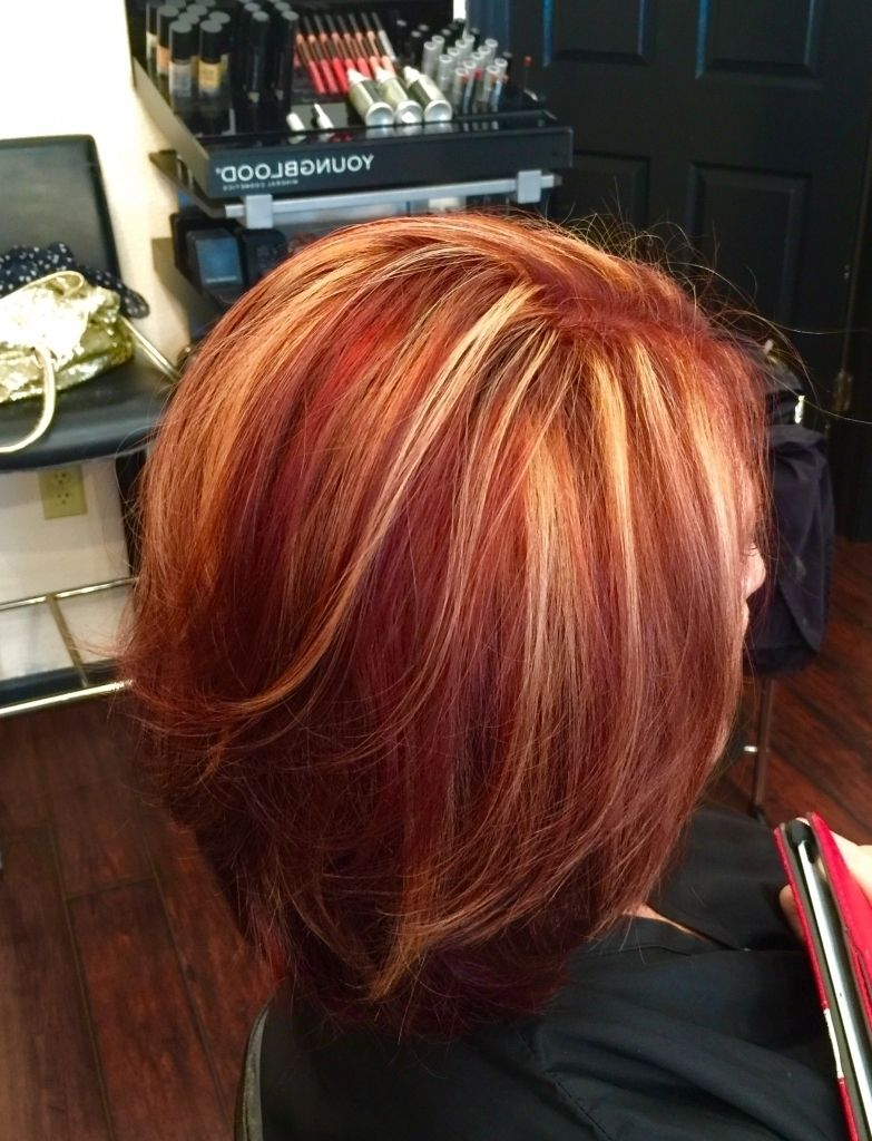 Image result for red hair color with blonde highlights pictures