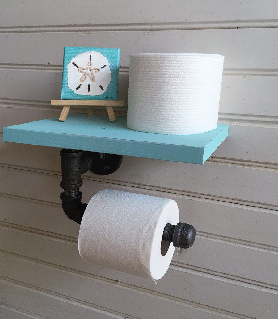 Toilet paper holder, Pipe Shelf for Wall, Beach Bathroom Decor, Bath ...