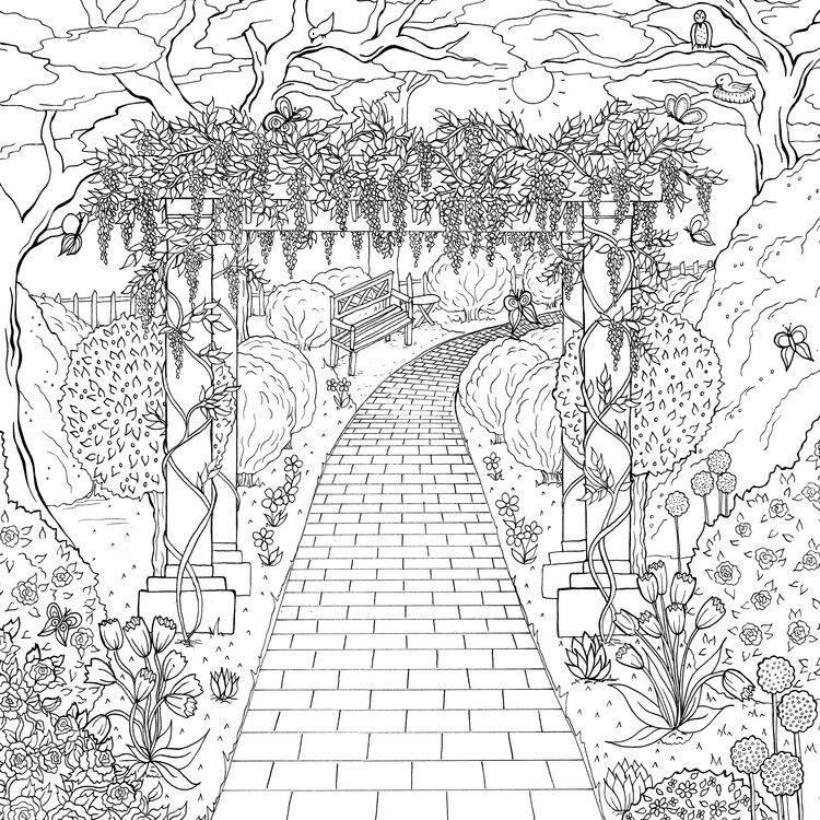картинки для рисования в саду карандашом высыхания
