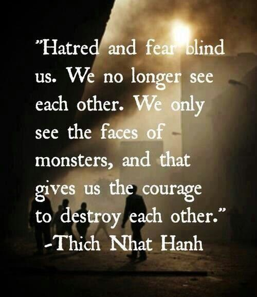 Thich Nhat Hanh teaches us to not let ourselves be blinded by hatred and fear.