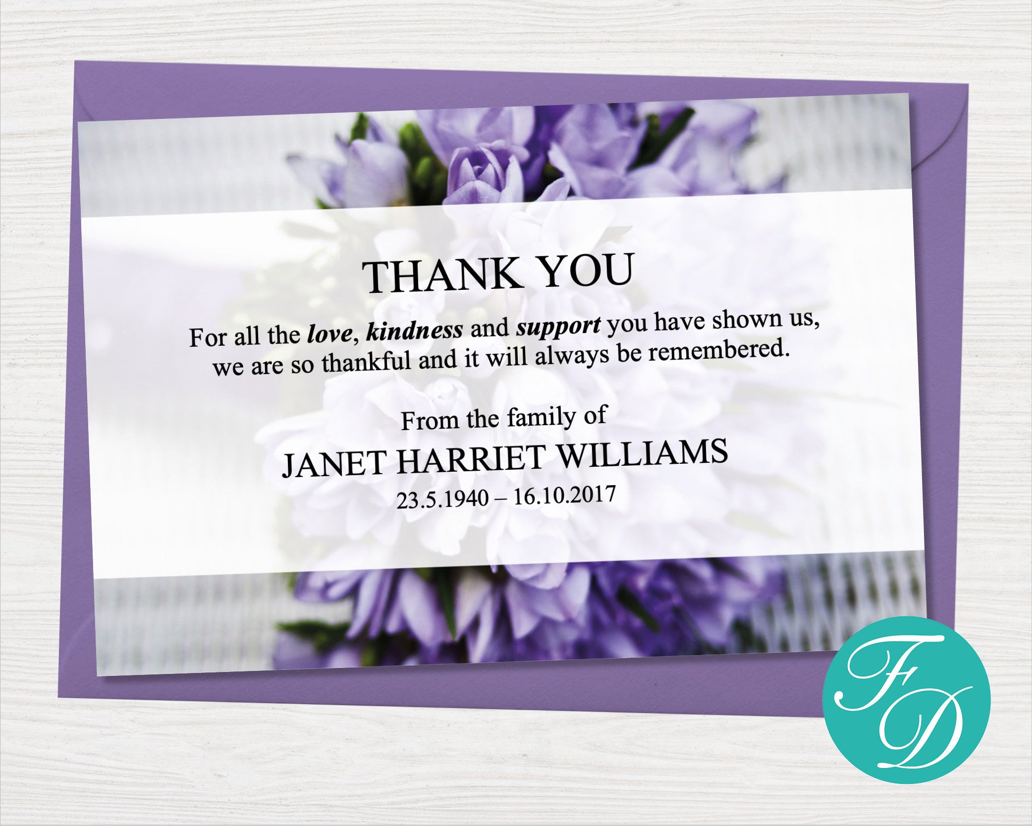 Purple Funeral Thank You Notes Funeral Template Printable Etsy Sympathy Thank You Cards Funeral Thank You Notes Funeral Thank You