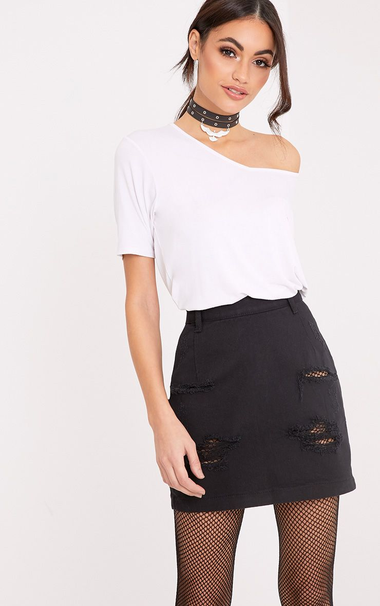 distressed black high waisted denim mini skirt work