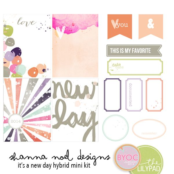 It's A New Day Hybrid Mini Kit - printables by Shanna Noel