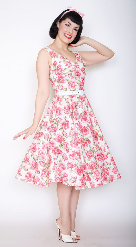 Saturday Night Pin Up Dress in Pink Rose Printhttp://berniedexter ...