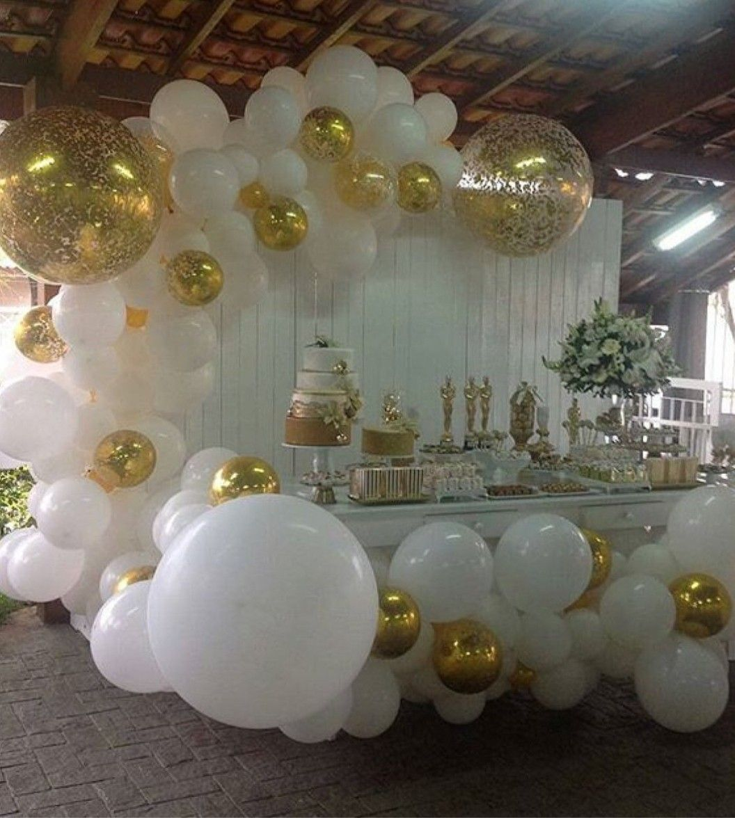 White Gold Balloon Garland Wedding Balloons Gold Birthday Party Birthday Party Decorations