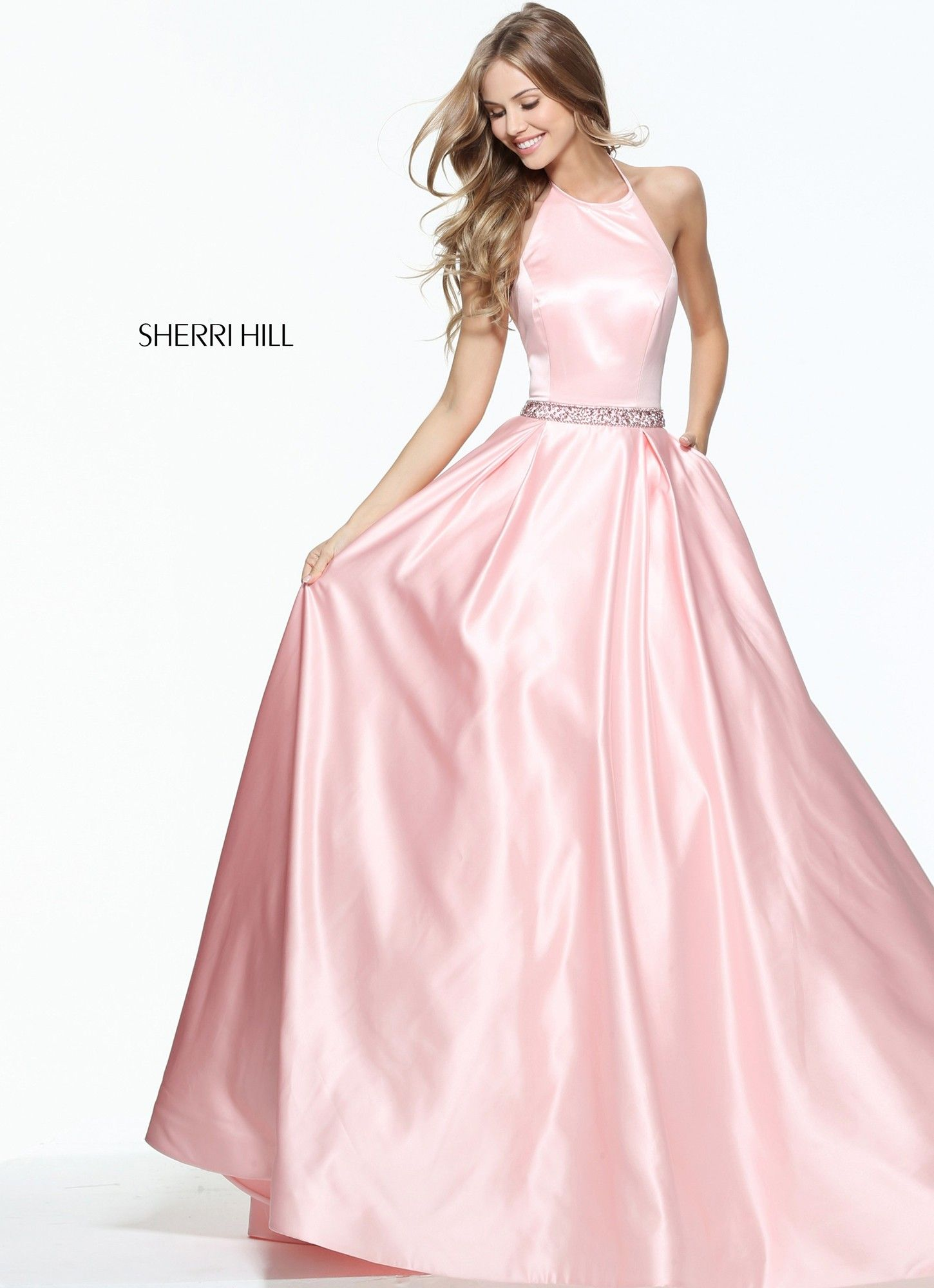 Sherri Hill 51036 Satin Halter Ball Gown | Pinterest | Vestidos de ...