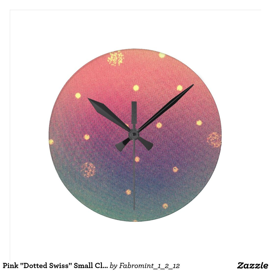"""Pink """"Dotted Swiss"""" Small Clock"""