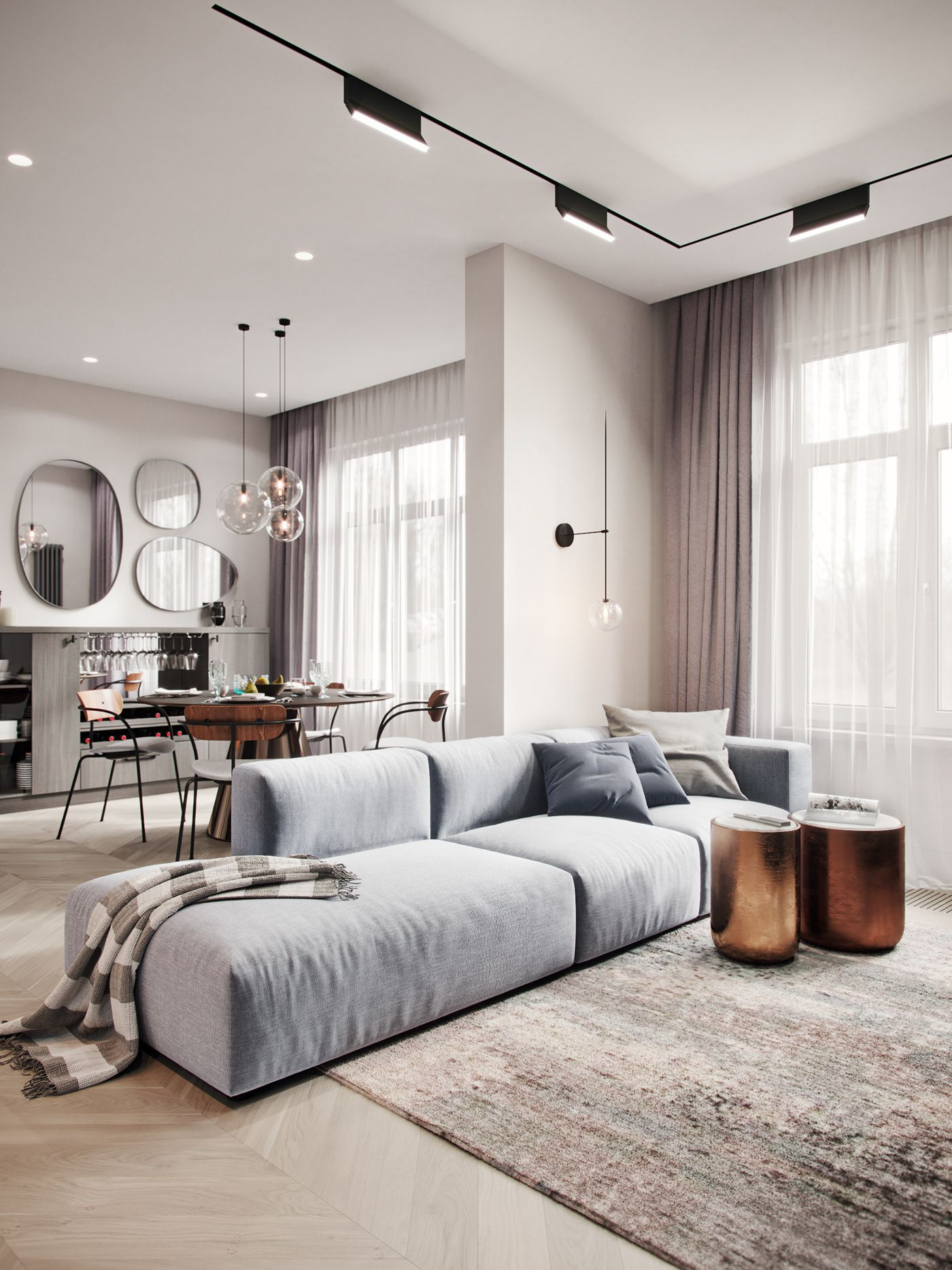 marshal zakharov  behance living room design