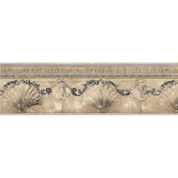 "Dunhill Seashells Damask 15' L x 7"" W Wallpaper Border"