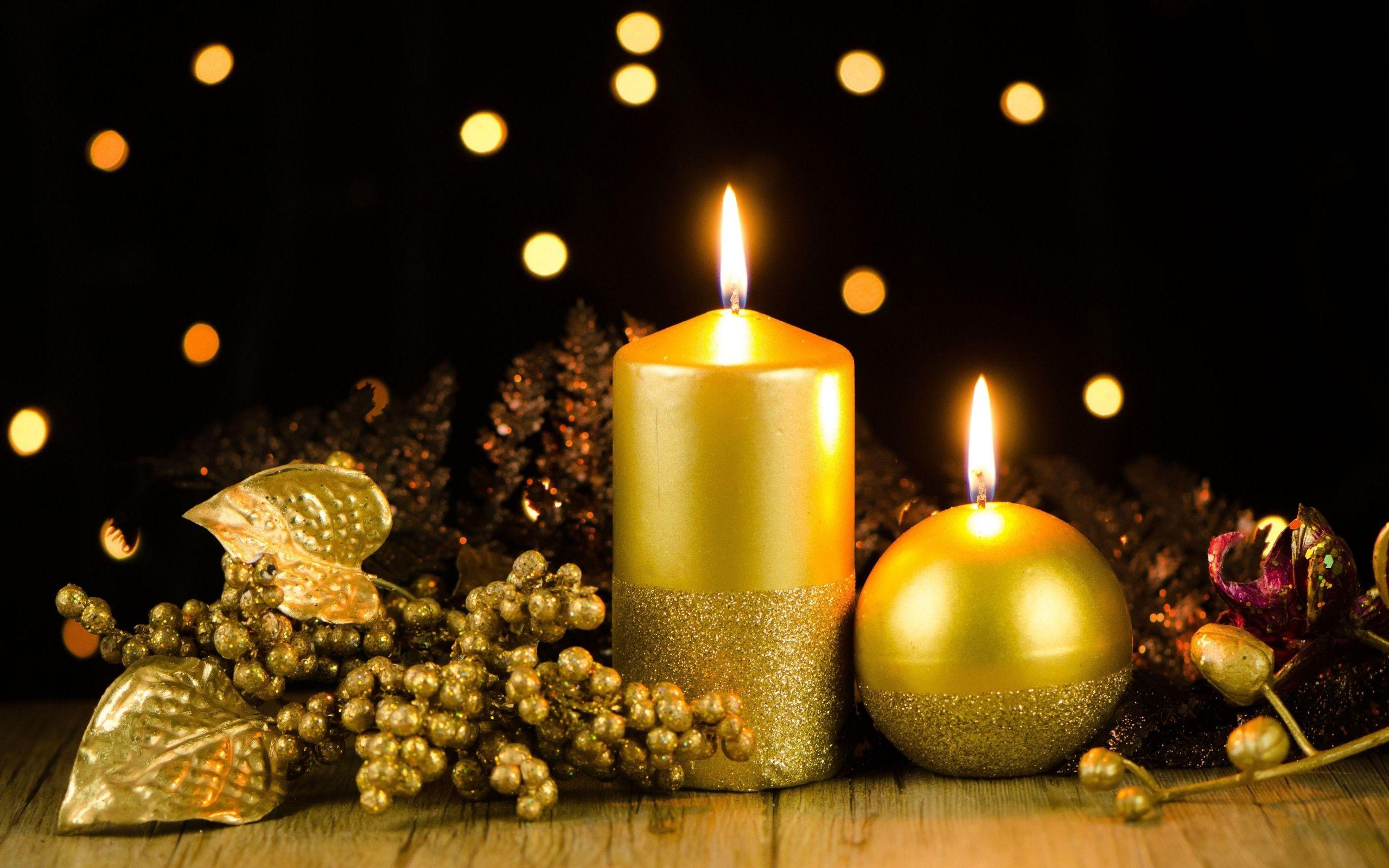 2560x1600 Wallpaper Candles Decoration Gold Glitter