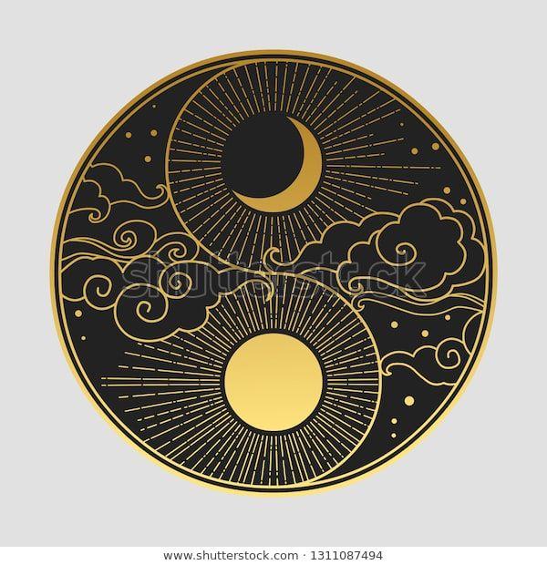 Dekoratives Grafikdesign im orientalischen Stil. Sonne, Stock-Vektorgrafik (Lizenzfrei) 1311087494