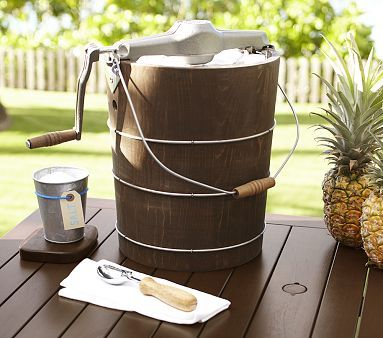 Summer Fun Making Ice Cream With A Wooden Ice Cream Maker