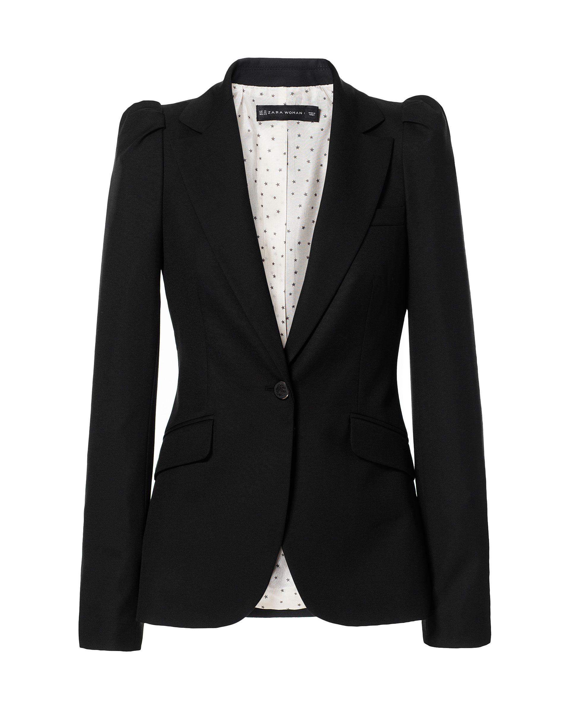Zara Blazer with Gathered Shoulders in Black | Lyst