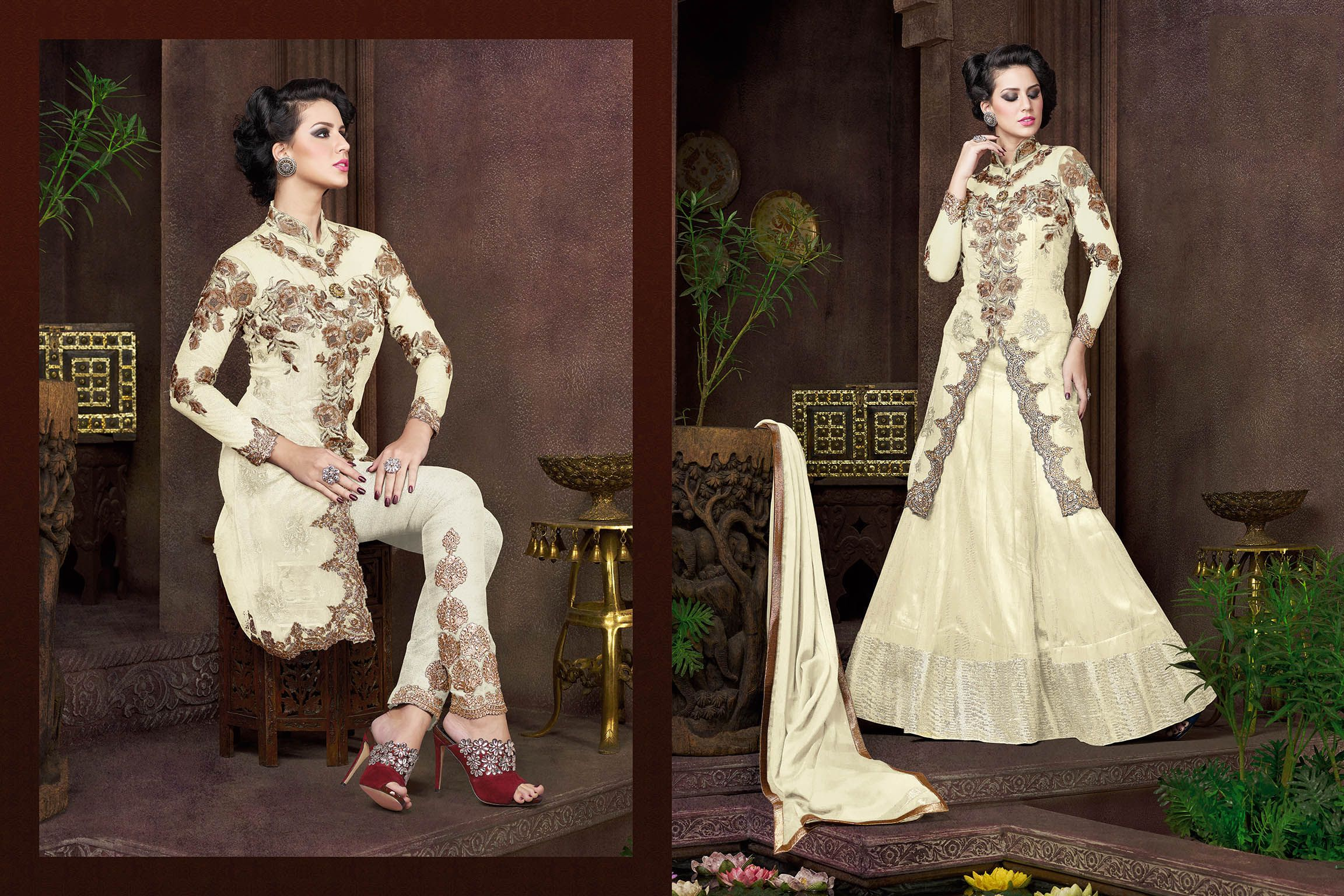 http://www.thatsend.com/shopping/lp/fvp/TESG231242/qf/color[]beige  Beige Net Designer Salwar Kameez Apparel Pattern Embroidered. Stiching Type Semi Stitched. Work Embroidery, Stone, Zari. Bottom Color Beige.