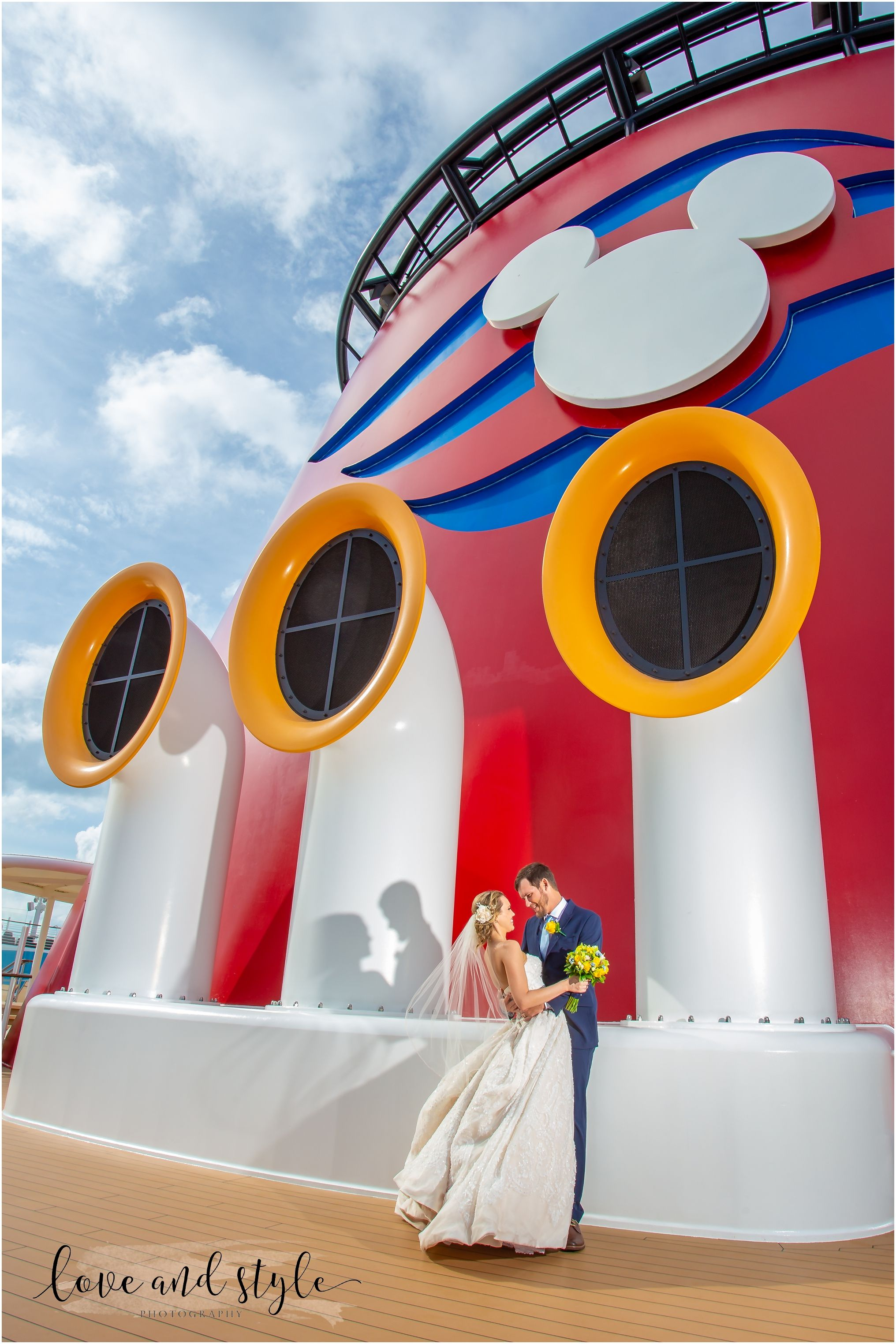 Disney Dream Cruise Ship Wedding Photo of the bride and groom on the deck  under Mickey ears #Disne… (With images) | Disney dream cruise, Cruise  wedding, Disney cruise wedding