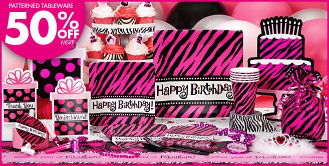 My 30th Bday ThemeMay 2012 Oh So Fabulous Party Zebra Supplies