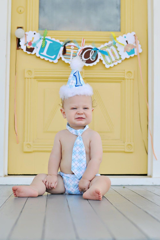 Baby Boy / Toddler Party Hat, Necktie & Diaper Cover Baby