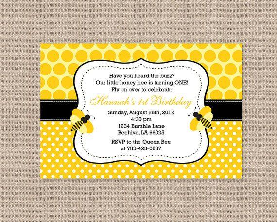 Polka Dot Bumble Bee Birthday Party Invitations by Honeyprint – Bumble Bee Party Invitations