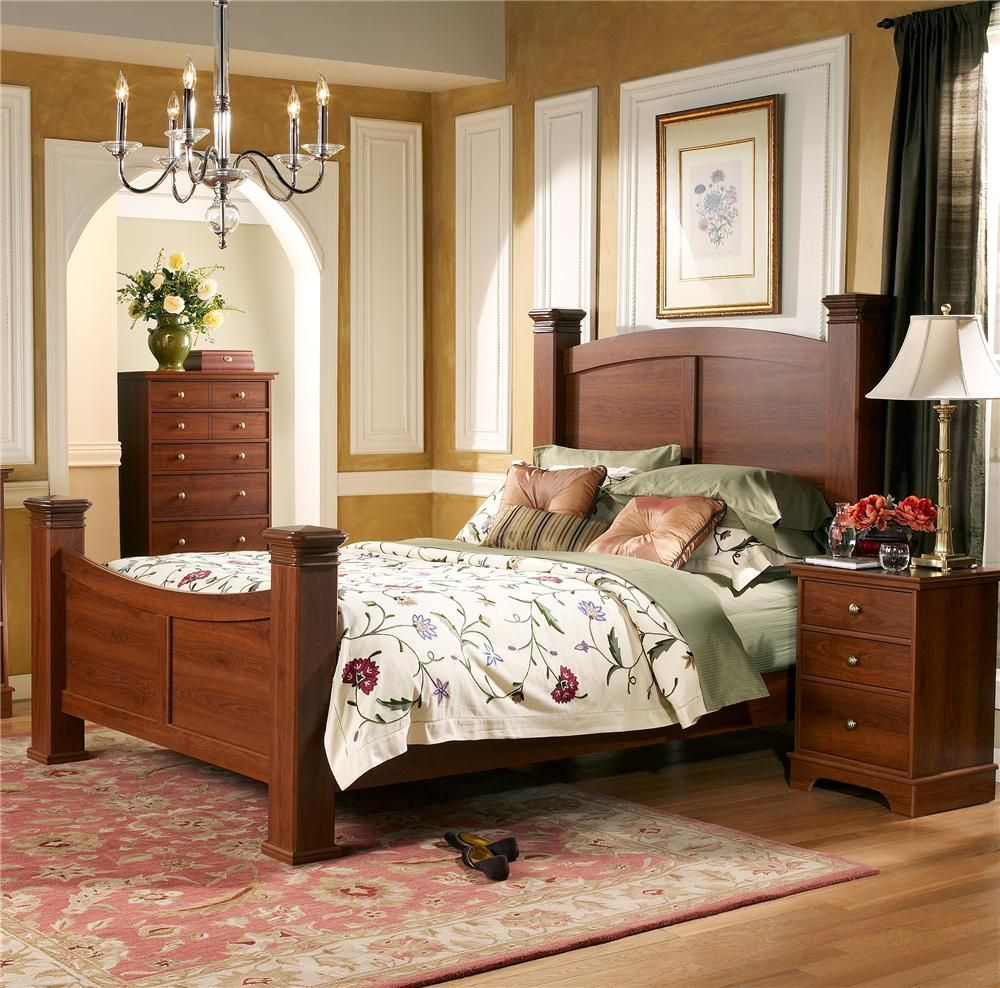 Leeward Poster bed assembly in Traditions Cherry by Lang Furniture