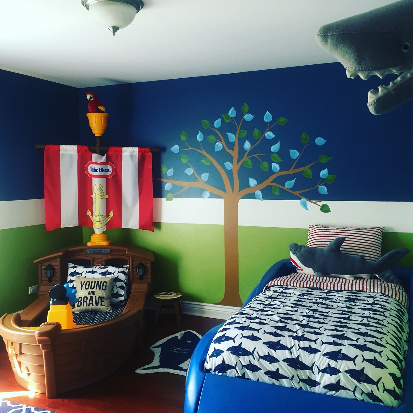 Toddler pirate room update. Little tikes pirate ship and