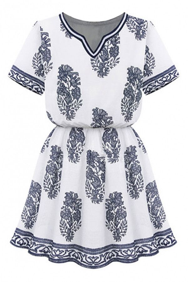 floral printed vintage summer mini dress