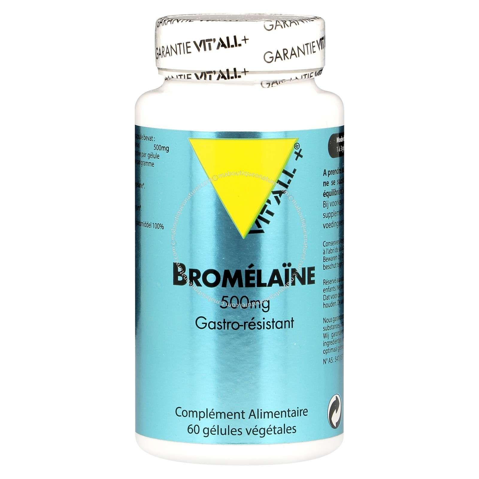 Bromelaïne 500mg - 60 capsules - Vitall+ - Onatera.com ...