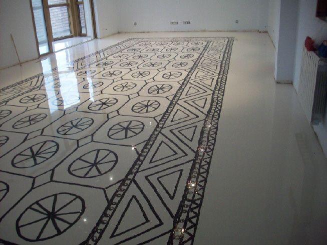 Pavinor autonivelante epoxi y alfombra pintada a mano. www.pavinor.es #epoxi