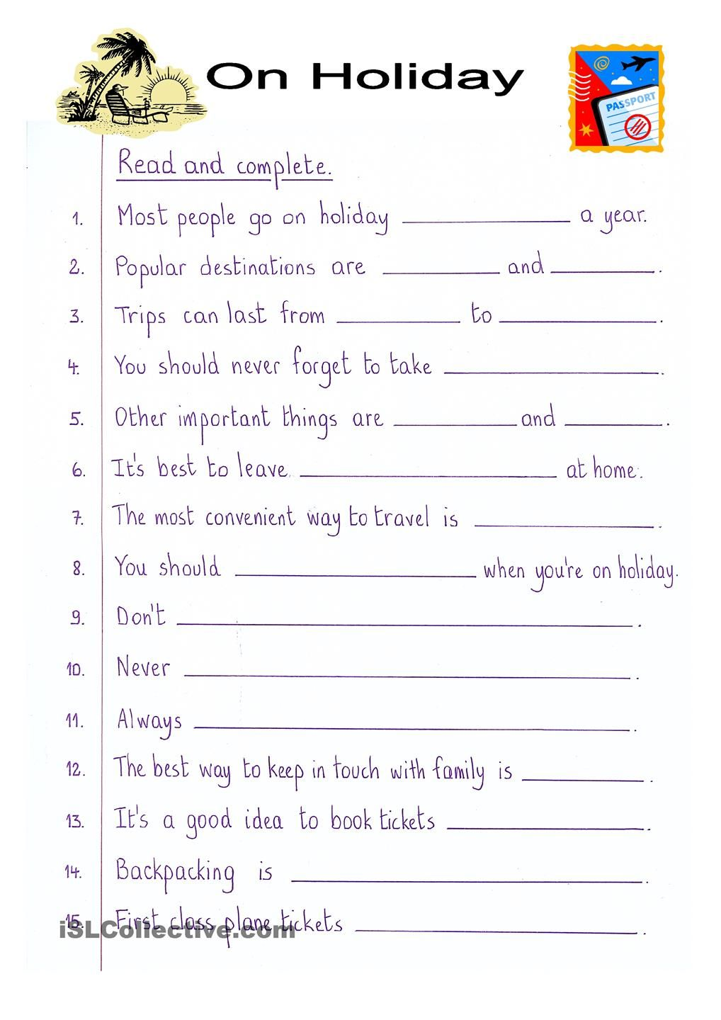 Read And Complete On Holiday Word Puzzles For Kids English Worksheets For Kids English Writing [ 1440 x 1018 Pixel ]