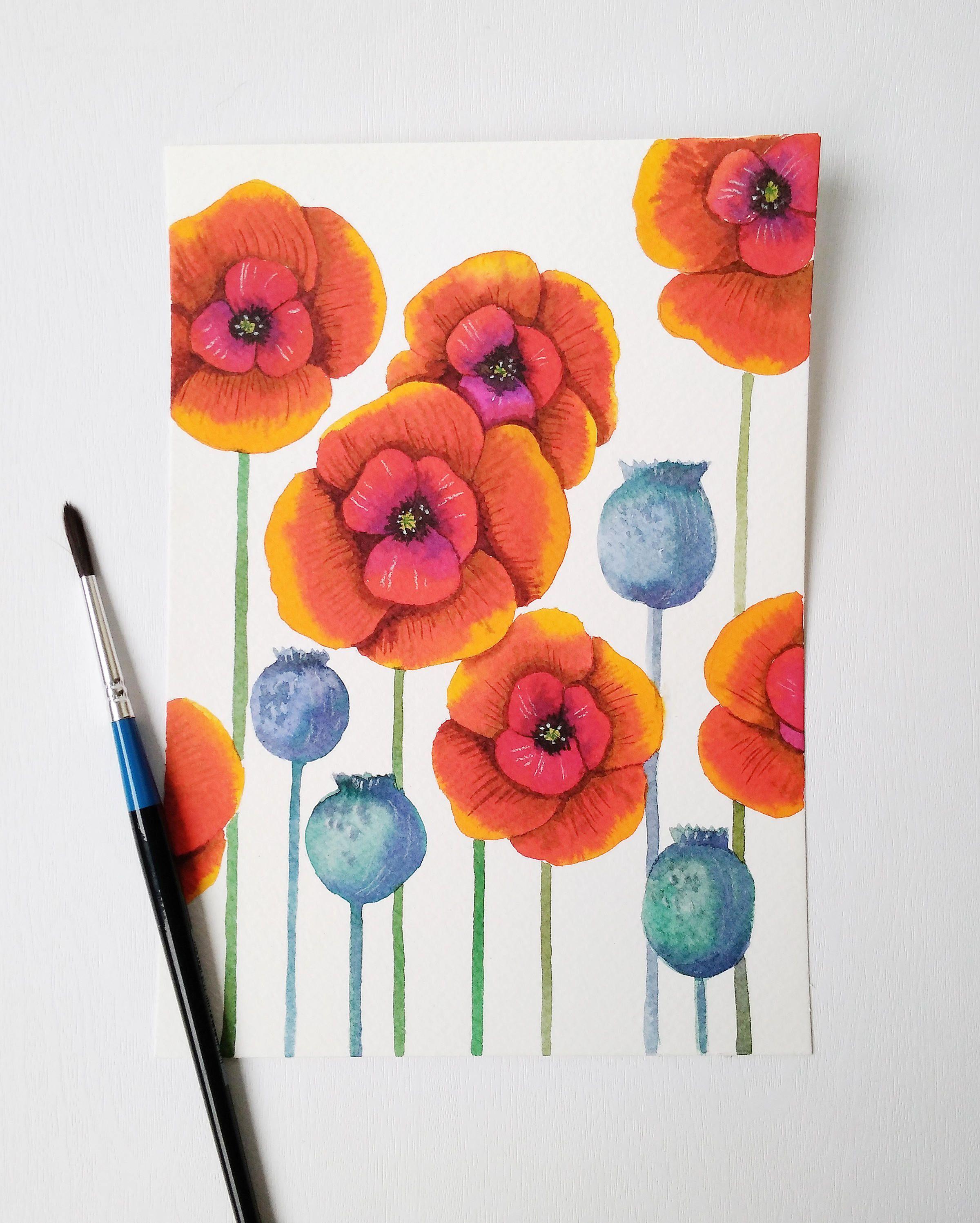 Garden wall art flowers  Poppies Original Watercolor painting Red flowers Botanical Art