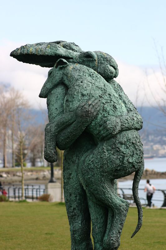 WM  Have you seen this in real life? Lady Hare with Dog by Sophie Ryder/Vancouver, Canada