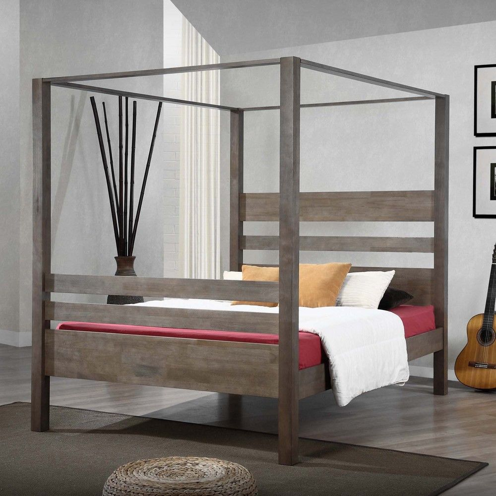 Napa queen size black canopy bed free shipping today overstock com - Marion Charcoal Grey Queen Canopy Bed By I Love Living