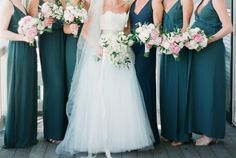 Teal Bridesmaids Dresses Perfect With Pink Bouquets Wedding Ideas