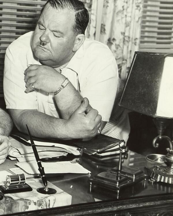 """Oliver """"Babe"""" Hardy in his Magnolia Blvd. home in Sherman Oaks CA.  I have one of my Uncle Babe's desks in my office. I remember the lamp and desk set well, and until I saw this pic I didn't know I'd recognize them. A strange deja vu moment..."""