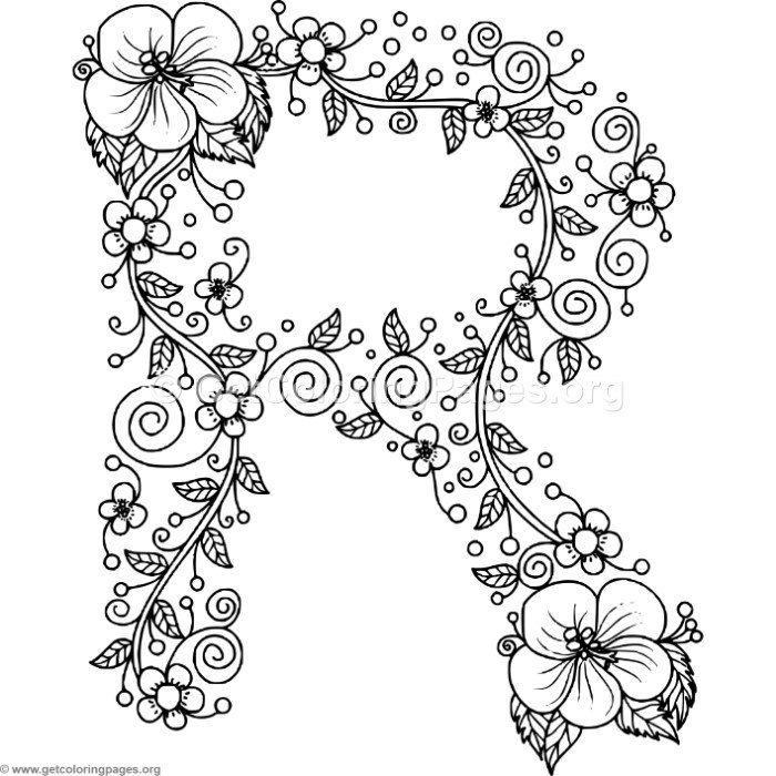 Download it FREE Floral Alphabet Letter R Coloring Pages #