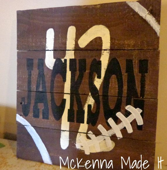 Football Man Cave Gifts : Personalized football pallet wood sign with name and
