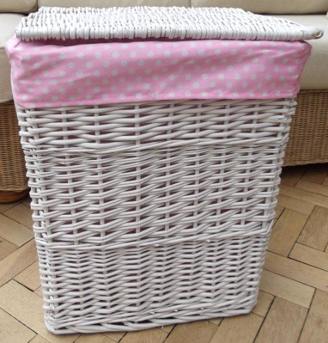 Large White Rectangular Wicker Laundry Basket With Lid And Pink