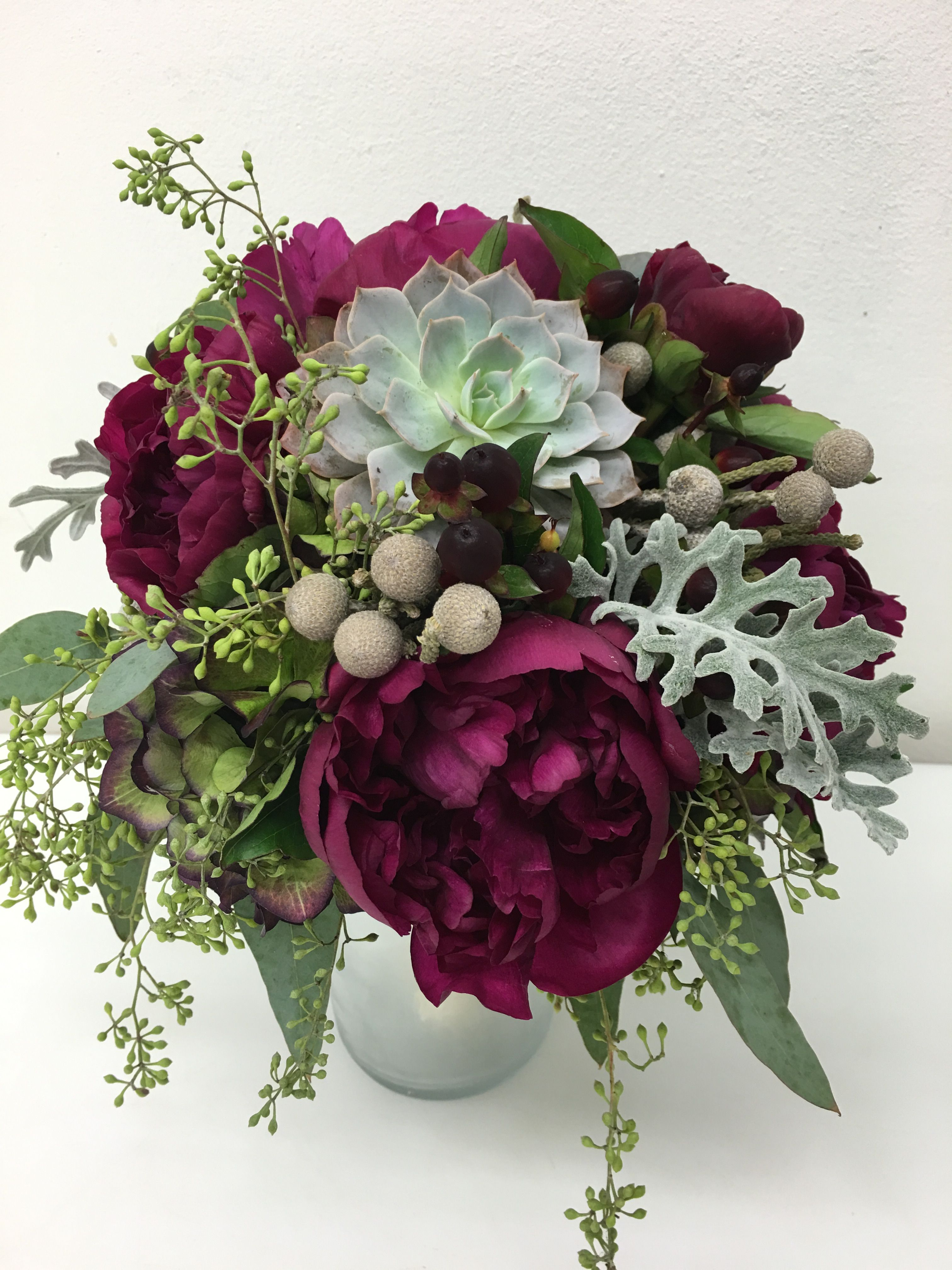 Jewel Toned Winter Bridal Bouquet With Wine Peonies, Succulents, Brunia