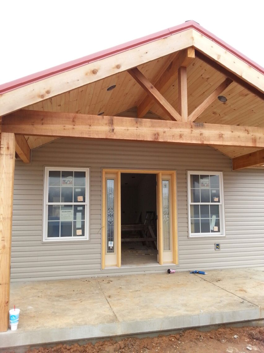 Open Gable Cedar Front Porch Ournewhome Front Porch Addition House With Porch Farmhouse Front Porches