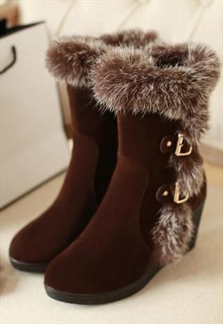 brown boots,Rabbit hair buckle snowboard boots,combat boots from womenboutiques