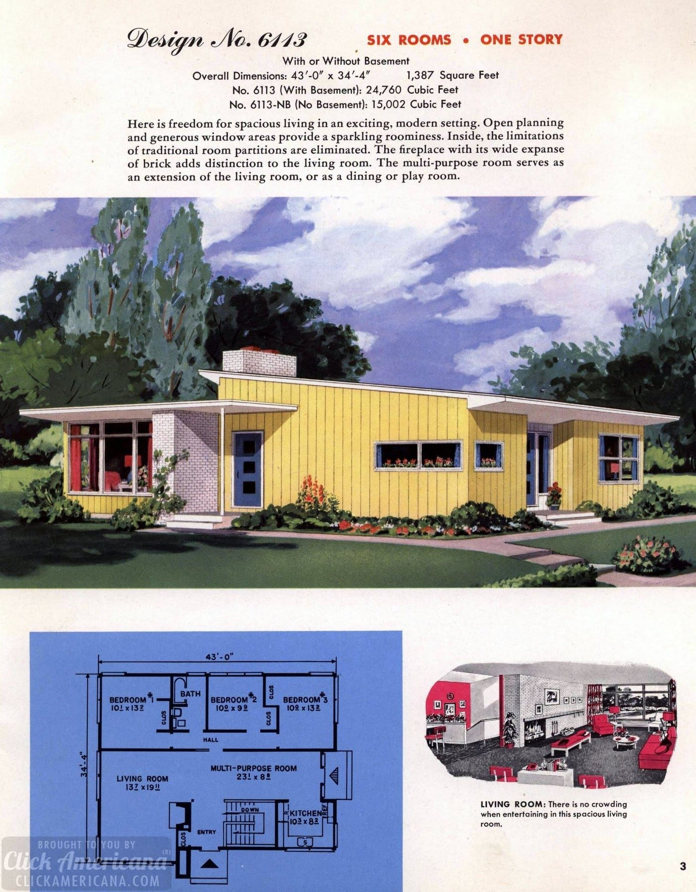 130 Vintage 50s House Plans Used To Build Millions Of Mid Century Homes We Still Live In Today Mid Century Modern House Plans Mid Century House Vintage House Plans