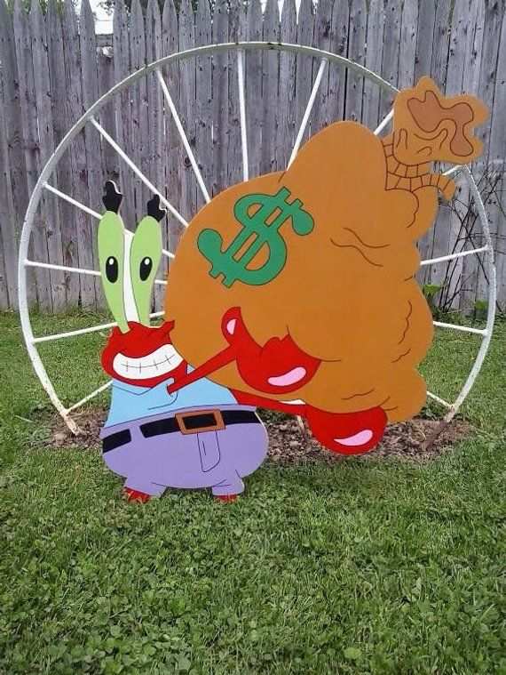 Mr Krabs,Spongebob Square Pants,Outdoor Wood Yard Art, Lawn Decoration is part of lawn Square Yards - 2 inch high quality plywood and painted with acrylic craft paint  Please note, my yard displays may vary from pictures, they are handmade no two items will be exactly the same so there may be slight variances in color Each piece is hand drawn and hand cut then they are Sanded, Painted and Sealed with allweather resistant sealer to help against weather conditions Painted White on backside All yard displays come with yard stakes Once ordered, it normally takes up to 3 to 4 weeks to have ready for pickup, delivery or shipping  But during the holiday seasons it could take longer Please Note only ships within United States All copyrights and trademarks of the character or characters images are reserved to their respectful owners  This item is not a licensed product, I am not, nor in any way affiliated with and do not claim ownership of the characters used in my own paintings and or designs  Order early Made to order