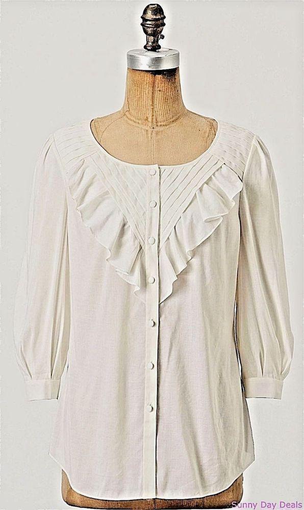 be3215ca407bfa Anthropologie Blouse Ruffle Tuck Cotton Button Front 3 4 Sleeve Maeve  Nicoleta 8  Anthropologie  ButtonDownShirt  Versatile