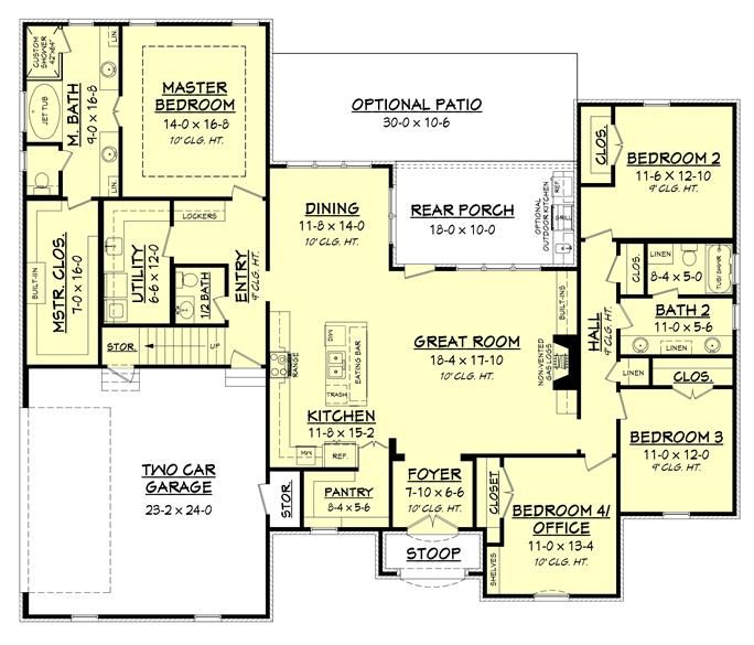 Loving the layout of this luxury ranch style home plan for Luxury ranch house plans