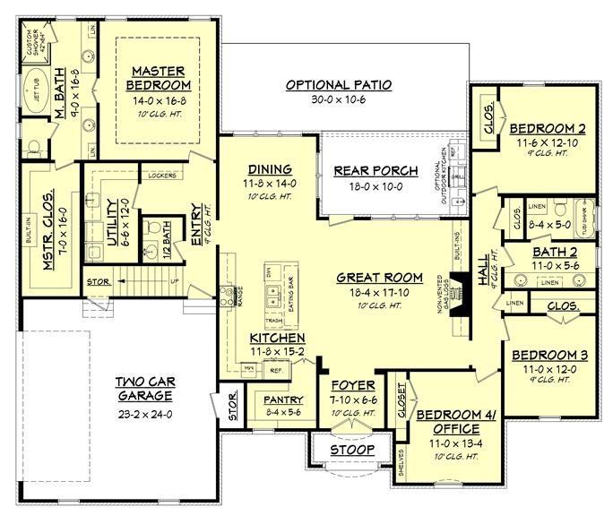 142 1160 Floor Plan Main Level Acadian House Plans House Floor Plans Lake House Plans