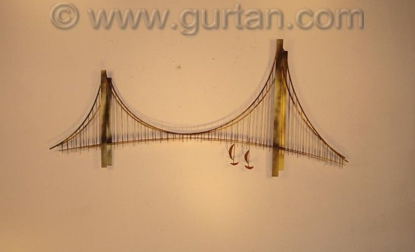 Suspension Bridge Contemporary Metal Wall Art with abstract boats ...