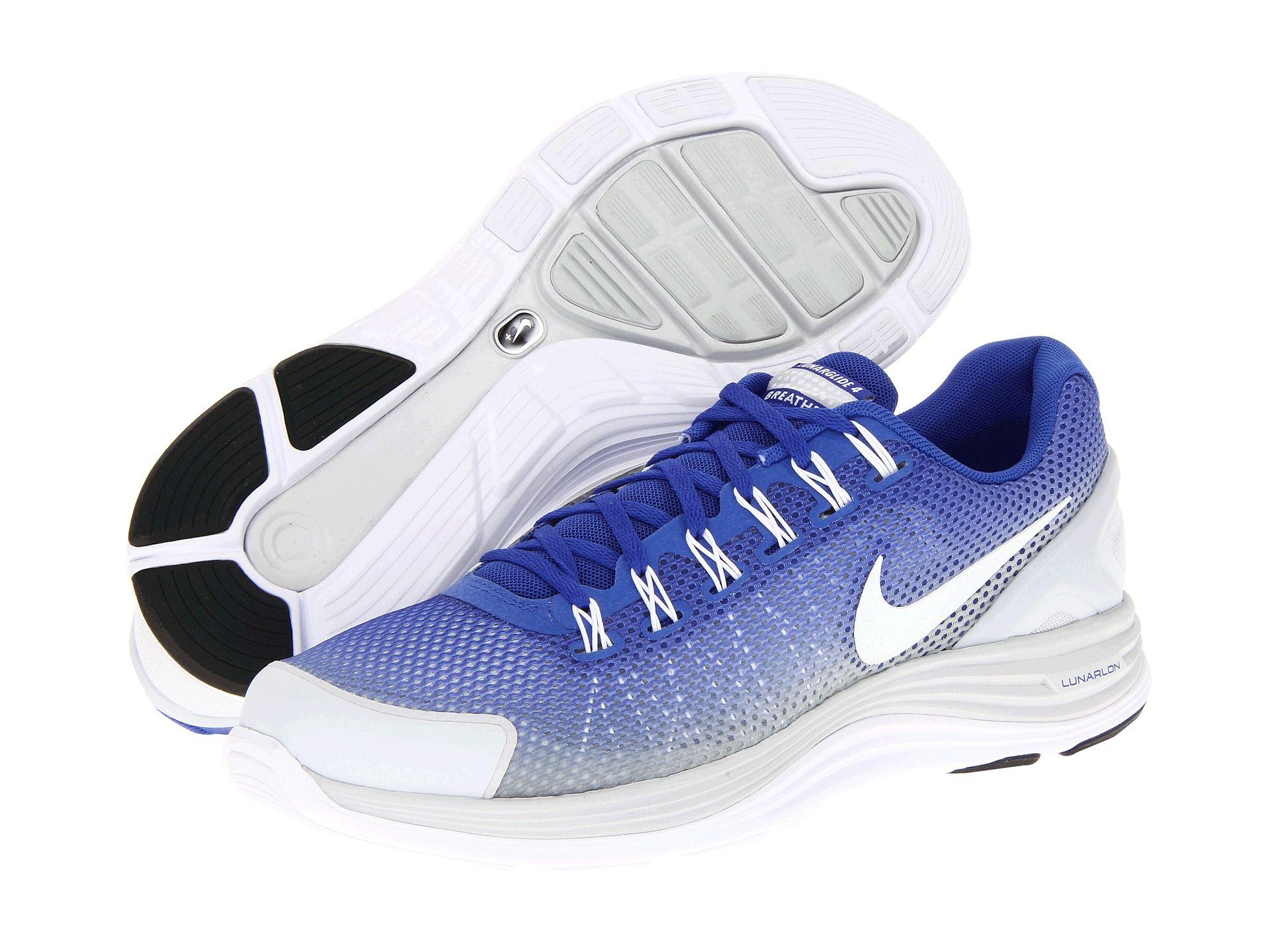Nike Lunarglide+ 4 Breathe Hyper Blue/Pure Platinum/White - Zappos.com Free Shipping BOTH Ways