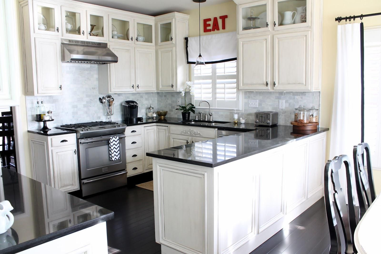 White Cabinets And Dark Countertops