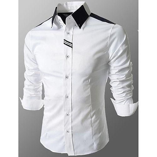 530b86b6cc161 Hombre Negocios   Chic de Calle Básico - Algodón Camisa