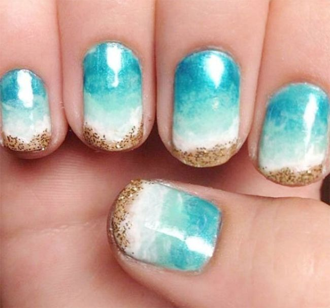 Simple And Easy Beach Nail Art Design Ocean View Nailed It To The