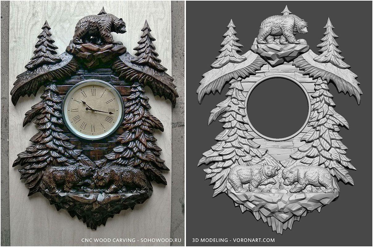 3d model for CNC wood carving. Walking Bears Cnc wood